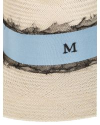 Maison Michel - Blue Virginie Straw Hat With Silk Tulle - Lyst