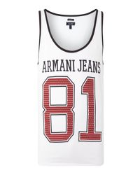 Armani Jeans | White Regular Fit Vest With 81 Print for Men | Lyst