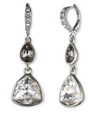 Givenchy | Metallic Rhodium-Plated Blue Multi Pear Double Drop Earrings | Lyst