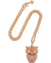 Carolina Bucci | Metallic 18karat Rose Gold Multistone Owl Necklace | Lyst