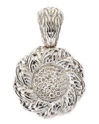 John Hardy | Metallic Pave Diamond Swirl Pendant | Lyst