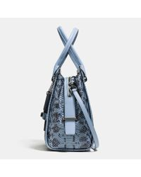 COACH - Blue Swagger Frame Satchel In Colorblock Exotic Embossed Leather - Lyst