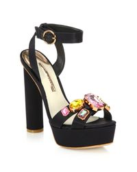 Sophia Webster | Black Amanda Bejeweled Satin Platform Sandals | Lyst