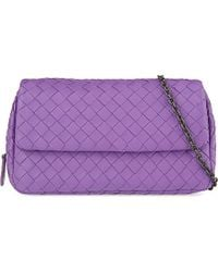 Bottega Veneta | Purple Intrecciato Nappa Leather Messenger Bag | Lyst