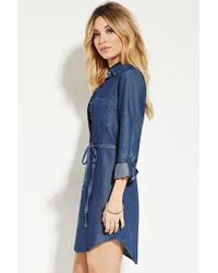 Forever 21 | Blue Belted Chambray Shirt Dress | Lyst