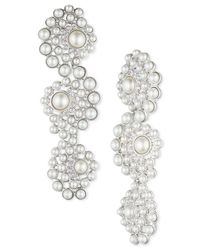 Givenchy - White Silver-tone Faux Pearl And Crystal Linear Earrings - Lyst