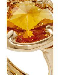 Oscar de la Renta - Orange Framed Circular Crystal Ring - Lyst