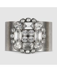 Gucci | Metallic Cuff With Swarovski Crystals | Lyst