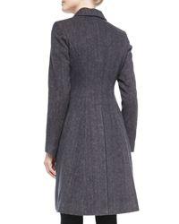 Vera Wang - Blue Tailored Herringbone Coat W/faux-fur Collar - Lyst