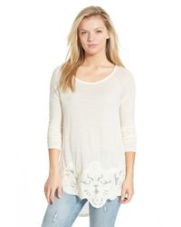 Chloe K - White Lace Applique High/low Tee - Lyst
