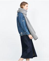 Zara | Gray Knit Scarf | Lyst