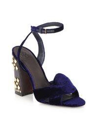 Tory Burch - Blue Bowood Embellished Velvet Sandals - Lyst