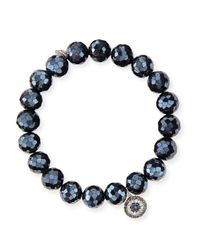 Sydney Evan | 10mm Black Diamond Spinel Bead Bracelet With Disc Charm | Lyst