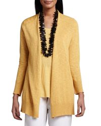 Eileen Fisher | Yellow Open Slub Cardigan | Lyst