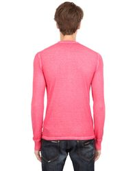 DSquared² - Pink Long Sleeve Cotton Linen T-Shirt for Men - Lyst