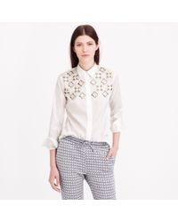 J.Crew - White Collection Jeweled Geo Shirt - Lyst