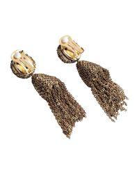 Oscar de la Renta | Metallic Classic Short Tassel Champagne Bead Earring | Lyst