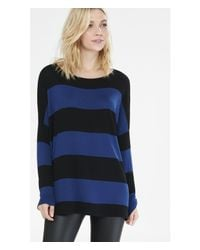 Express | Blue Hint Of Cashmere Striped Boxy Bateau Neck Sweater | Lyst