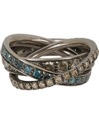 Roberto Marroni | Multi Diamond & Oxidized White Gold Triple Rin | Lyst
