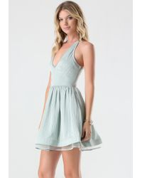 Bebe - Blue Lace Back Dress - Lyst