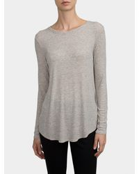 White + Warren | Gray Ribbed Jersey Swing Crewneck | Lyst