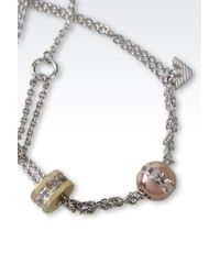Emporio Armani - Metallic Necklace In Rhodium-Plated Silver And Cz Stones - Lyst
