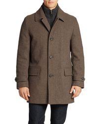 Michael Kors | Brown Wool-Blend Topcoat | Lyst