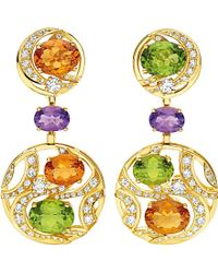 BVLGARI | Mediterranean Eden 18Ct Yellow-Gold, Citrine Quartz, Peridot, Amethyst, Diamond And Pavé-Diamond Earrings - For Women | Lyst