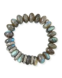 Sheryl Lowe | Gray 14mm Faceted Labradorite & Pave Diamond Rondelle Bracelet | Lyst