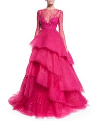 Monique Lhuillier - Pink Jewel-embellished Layered Ball Gown - Lyst