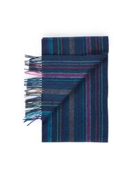 Paul Smith - Blue College Wool Scarf for Men - Lyst