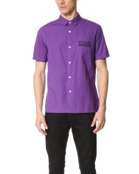 Stussy - Purple City Print Shirt for Men - Lyst