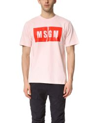 MSGM - Pink Box Logo Tee for Men - Lyst