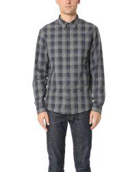 VINCE | Blue Ombre Plaid Shirt for Men | Lyst