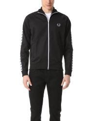 Fred Perry   Black Taped Track Jacket for Men   Lyst