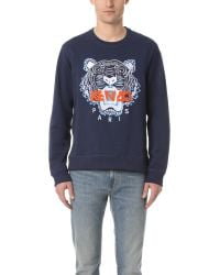 KENZO | Blue Tiger Crew Sweater for Men | Lyst