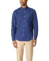 Lacoste | Blue Button Down Linen Shirt for Men | Lyst
