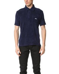 Stussy - Blue Terry Polo for Men - Lyst