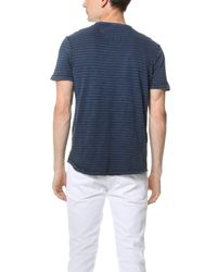 Calvin Klein Jeans - Blue Acid Wash Slit Neck Tee for Men - Lyst