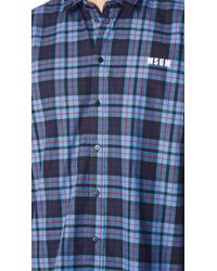 7a7a3785737 Lyst - MSGM Check Print Shirt in Blue for Men