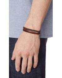 Caputo & Co. - Brown Hand Knotted Triple Wrap Bracelet for Men - Lyst