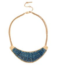 Kenneth Cole - Gold-tone Woven Blue Bead Crescent Frontal Necklace - Lyst
