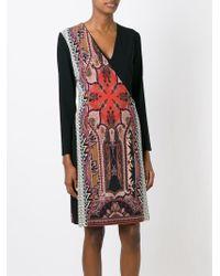 Etro - Red Paisley Panel Wrap Dress - Lyst