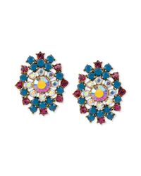 Betsey Johnson | Multicolored Stone Cluster Drop Post Earrings | Lyst
