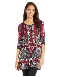 Style & Co. | Black Petite Printed Jacquard Sweater Tunic | Lyst