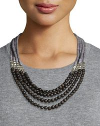Peserico | Brown Beaded Multi-strand Necklace | Lyst