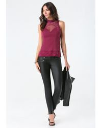 Bebe | Purple Anna Lace Mock Neck Top | Lyst