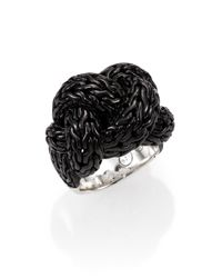 John Hardy - Classic Chain Blackened Sterling Silver Large Braided Ring for Men - Lyst