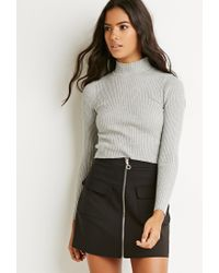 Forever 21 - Gray Mock Neck Ribbed Sweater - Lyst