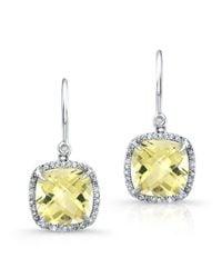 Anne Sisteron - 14kt White Gold Lemon Topaz Diamond Cushion Cut Earrings - Lyst